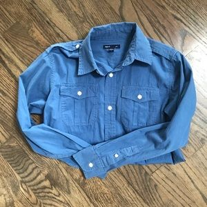 GAP boy's blue button up with pinstripes